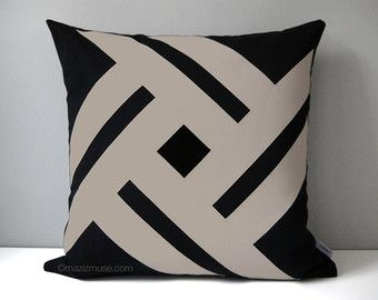 Black & Taupe Outdoor Pillow Cover, Geometric Throw Pillow Case, Decorative Pillow Case, Sunbrella Pillow Cushion Cover, Mazizmuse Pinwheel