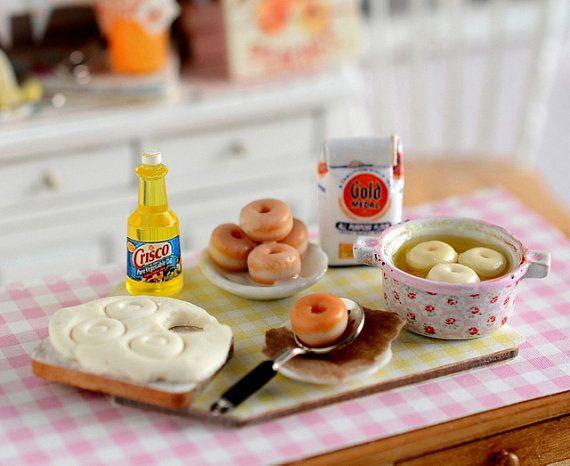 Miniature Making Glazed Doughnuts by CuteinMiniature on Etsy, $32.00