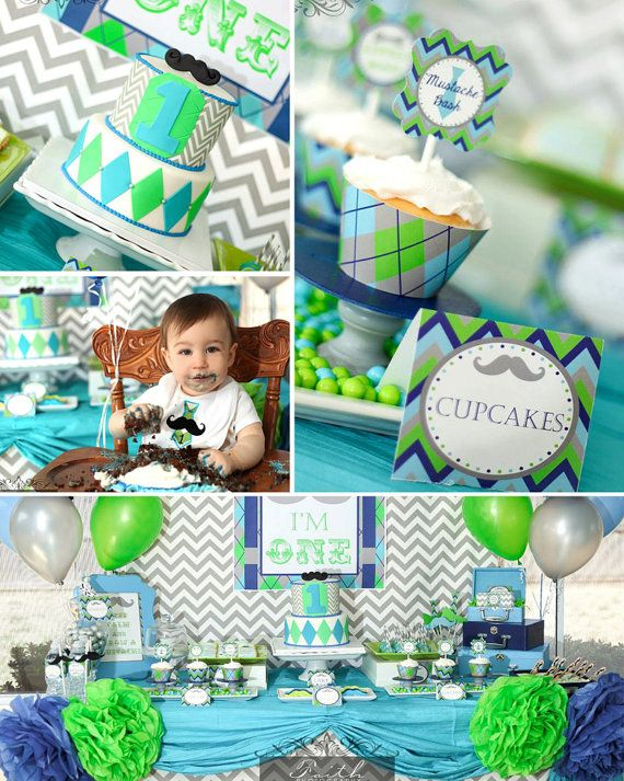 Little Man Mustache Bash - Mustache Birthday Party - PRINTABLE Personalized Party Package - Chevron on Etsy, $25.00