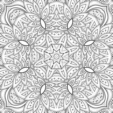 Абстрактных монохромную племенной узор — стоковая иллюстрация #81564030