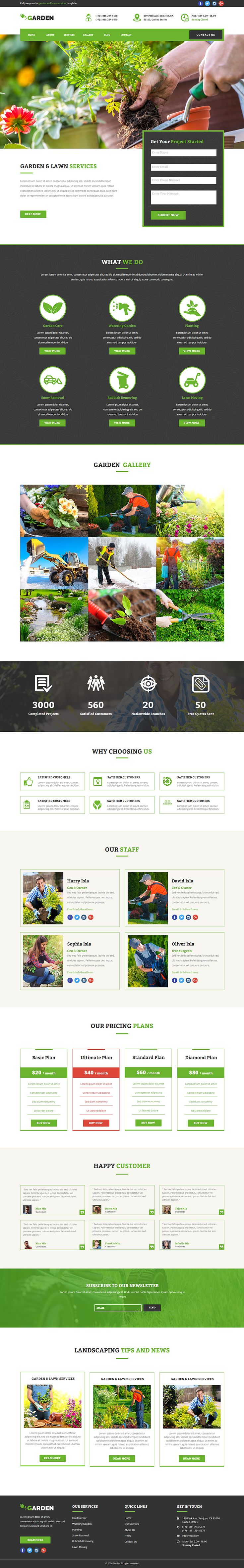 This theme can be used for garden services, lawn services, landscape design, gardening, pest control, groundskeepers, landscape architects, gardener business, florists and snow removal services. This theme is perfect for any other categories as well. The template is based on modern and clean layout
