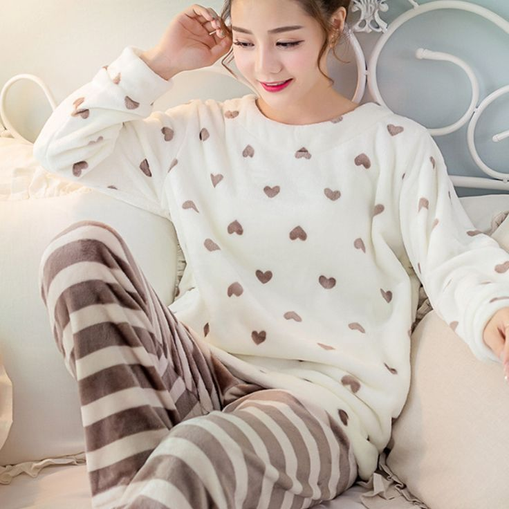 Women Girls Sleep Lounge Home Long Sleeve O-neck Sweatshirts Long Pants Cartoon Autumn Winter Warm Fleece Soft Pajama Sets Q5223