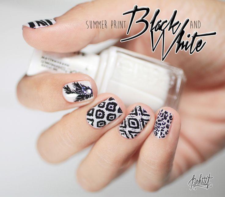 Black and white print summer Nail Art
