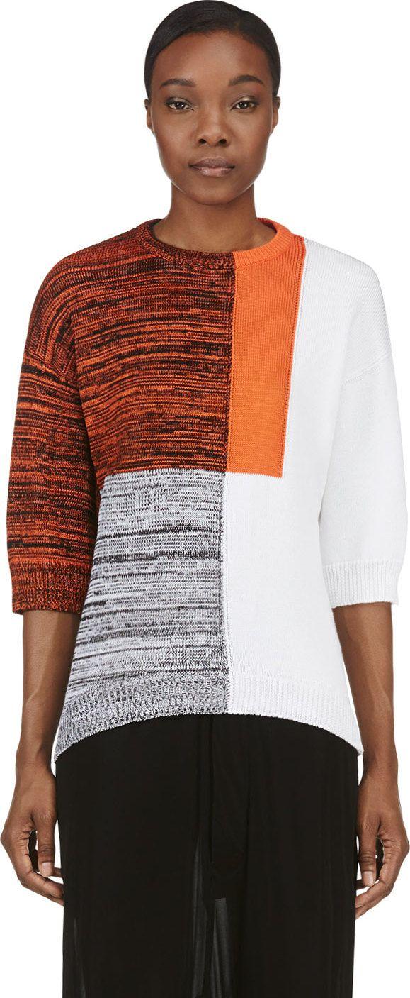 Damir Doma - Orange Colorblocked Marled Knit Kashan Sweater