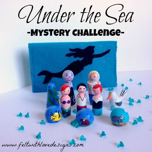 """The Little Mermaid Inspired #PegDolls and #Felt Storage Pouch - """"Under the Sea"""" Mystery Challenge {Felt With Love Designs}"""