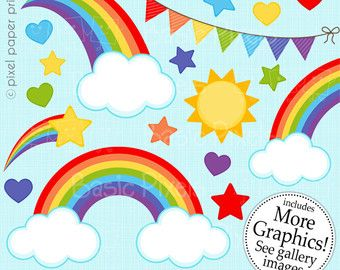 Rainbow girls Clipart and Digital Paper Set by pixelpaperprints