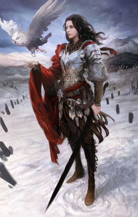 Female warrior. scifi-fantasy-horror: concept art by tranquillo