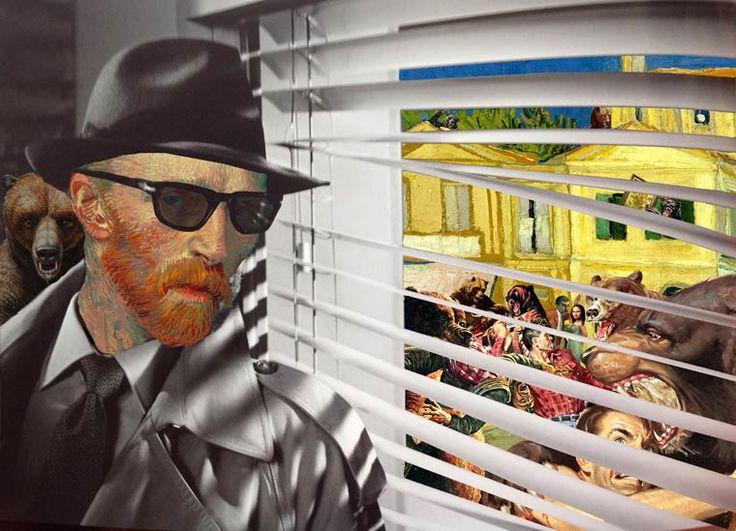 Les collages décalés de l'artiste américain Barry Kite, qui détourne les tableaux célèbres de la peinture classique pour créer des compositions amusantes