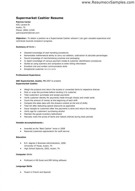 cashier resume sample  dengan gambar