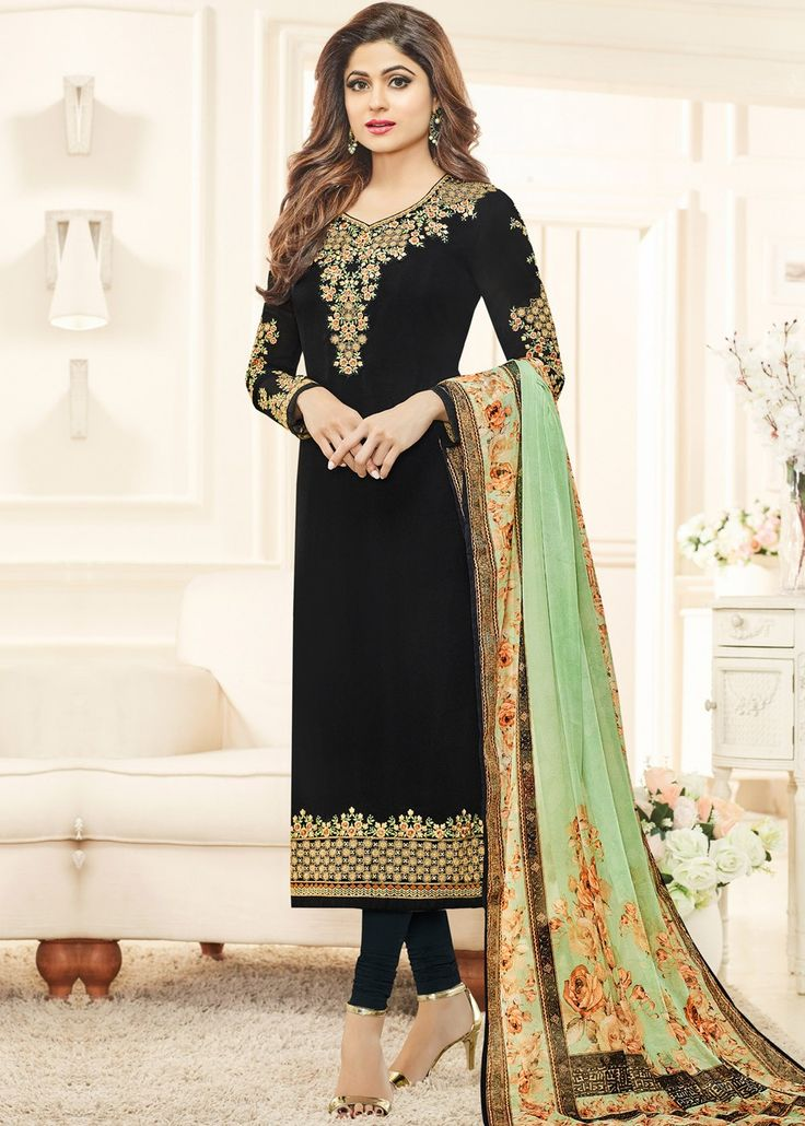 Shamita Shetty Black Straight Cut Georgette Salwar Suit