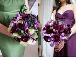 light purple roses, eggplant callas, purple freesia, bridal bouquet inspiration.  I'd like to see a similar bouquet with lots of tulips possibly in place of the callas or combined with the calla lilies.