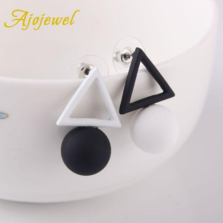 Ajojewel Circular Ball Hollow Triangle Simple Earrings Korean Asymmetric Earrings Female Jewelry Wholesale