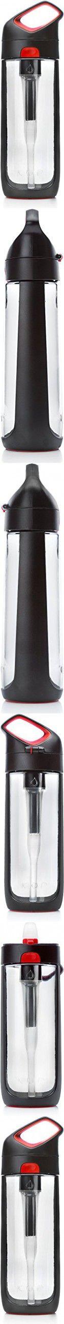KOR Nava BPA Free 650ml Filter Water Bottle, Black/Red
