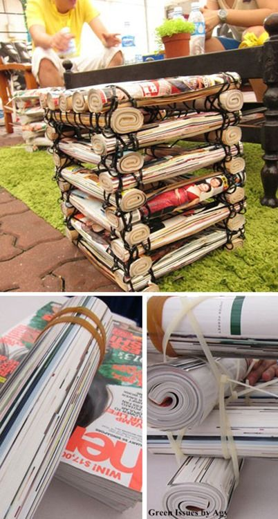 Nifty Stack Stools = Recycled Magazines Crafts = great party seats... (graduation party idea?)