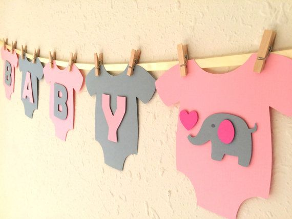 """Baby One-Piece Bodysuit """"BABY GIRL"""" Elephant Baby Shower Banner: Pink and Gray…"""