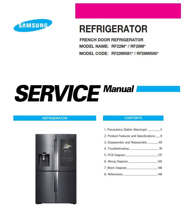Samsung Rf22m9581 Rf22m9581sr Rf22m9581sg Service Manual Repair Instructions Refrigerator Service Samsung Manual