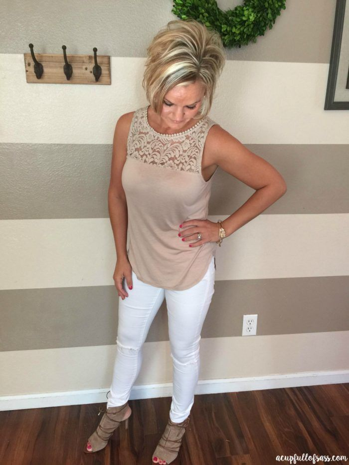 Taupe Lace Top and White Jeans
