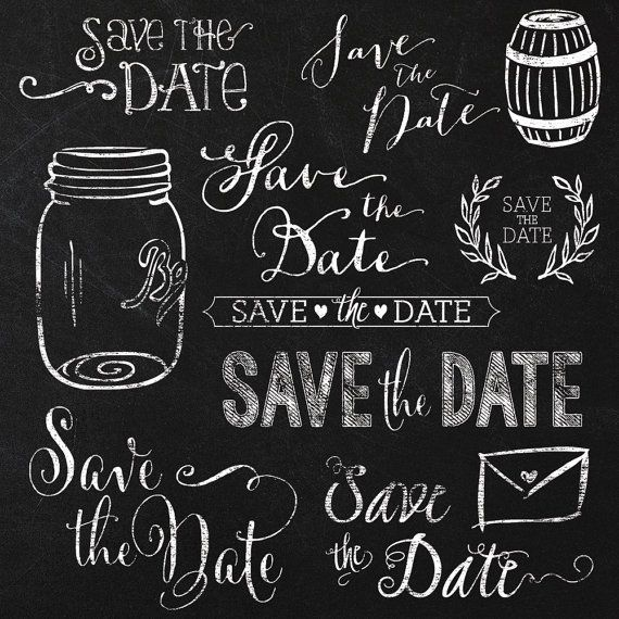 Save the Date Wedding Chalkboard Clipart