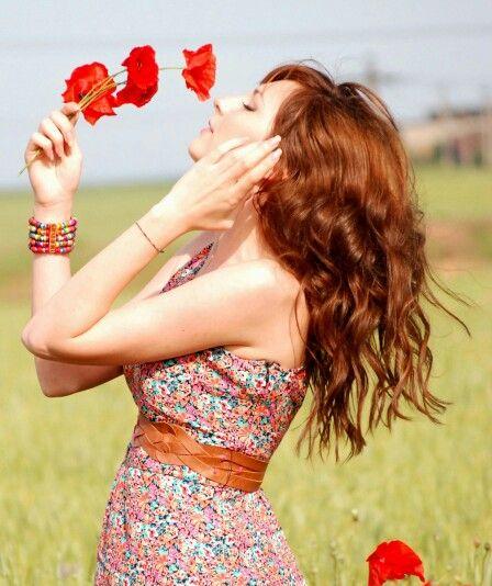 #longhair #dress #summer #redhair #hairstyle #flowers