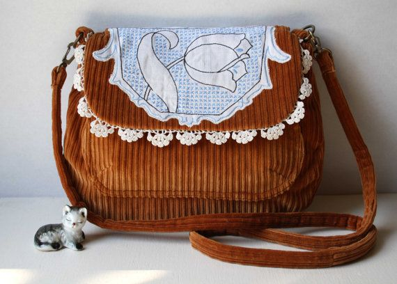 Lola lovely soft tan corduroy  across body bag Obelia handmade bohemian lace embroidery