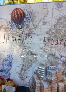 Διακόσμηση βάπτισης και candy bar με θέμα ταξίδι, ταξιδιώτης.