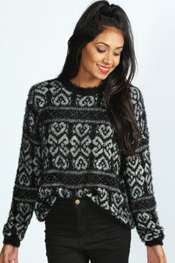 Tabby Baroque Print Fluffy Knit Jumper at boohoo.com