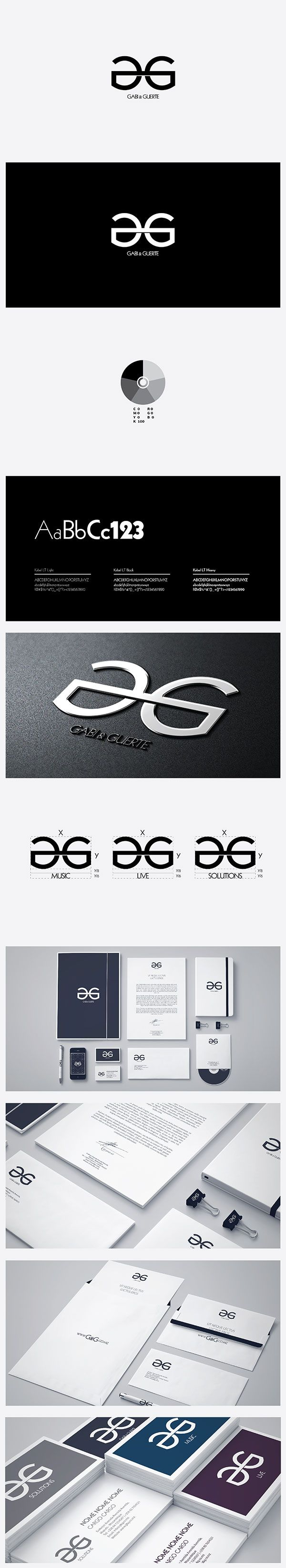 """This is the corporate identity developed for the G&G - GABI & GUERTE Brand. The client requested for a simple yet bold visual identity wich used monocromatic colors and a siymbol incorporating the letter """"G"""". In addition, color variations and diferentiation for the various areas of business were also requested.   Enjoy!"""