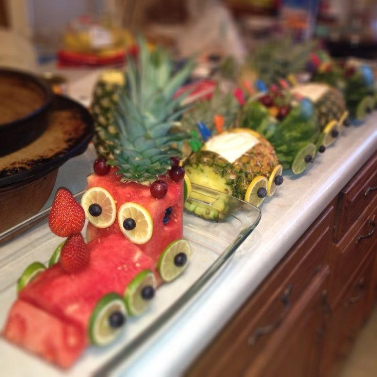 made this Fruit Train for a birthday party. Fruit train made up of ...