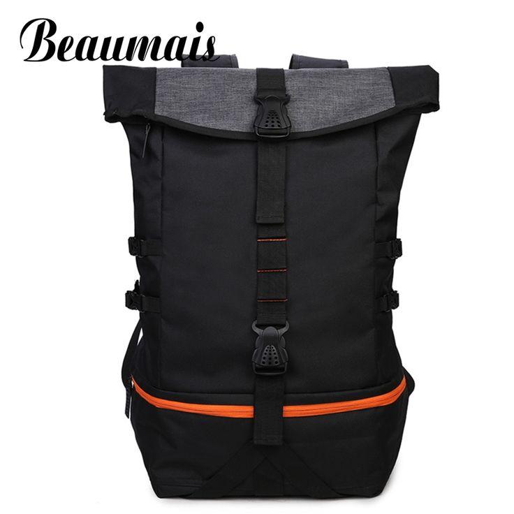 Beaumais Fashion Men Canvas Backpacks School Bags For College Students Men Big Travel Mochila Backpacks With Shose Pocket DB6073 #Affiliate