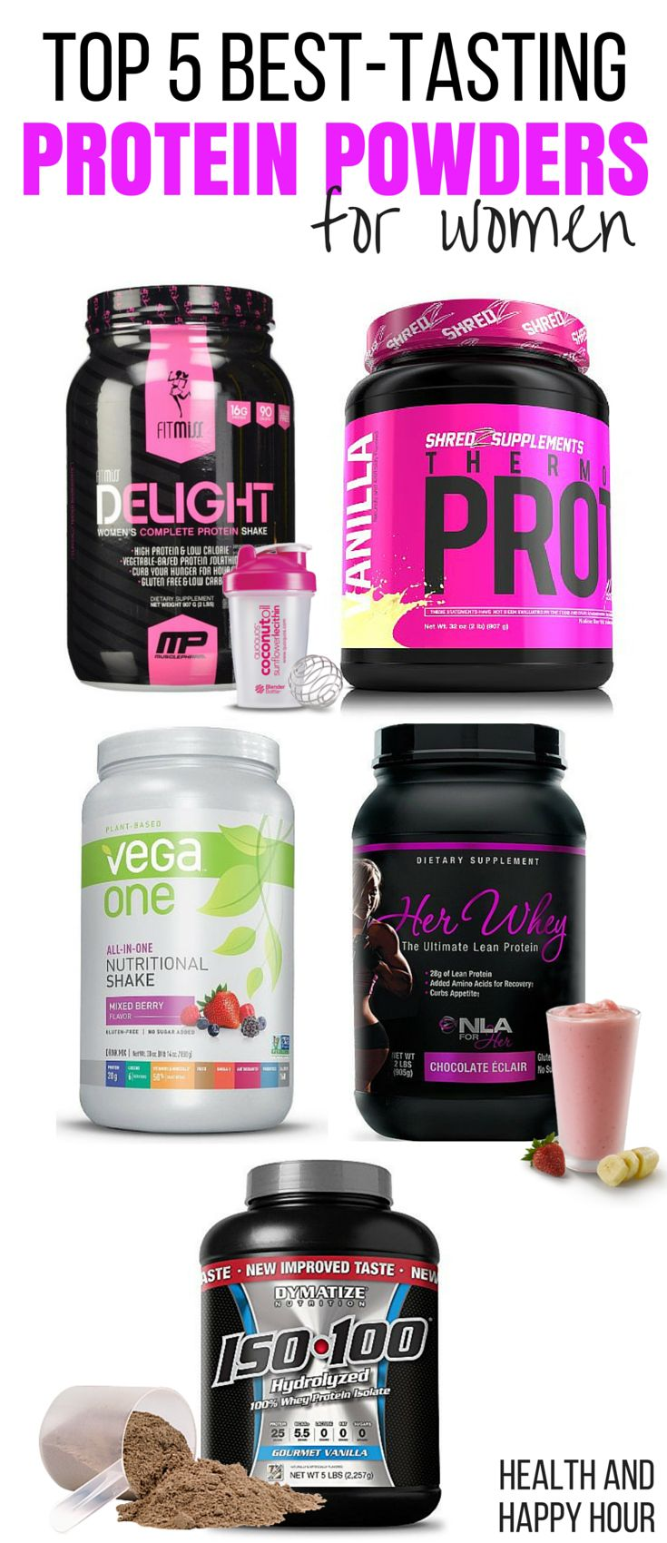 These healthy protein powders can help you tone up and lose weight fast, and they're specifically for women! http://healthandhappyhour.com/top-5-best-tasting-protein-powders-for-women/