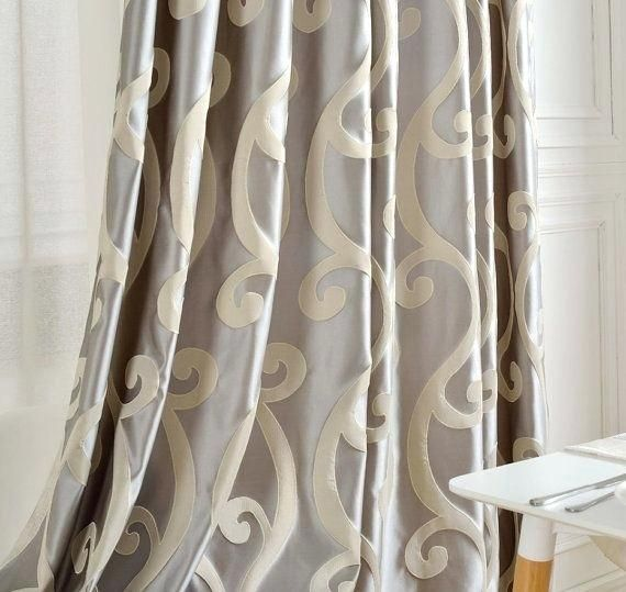 Stunning Grey Beige Curtains Decor With Grey Walls And