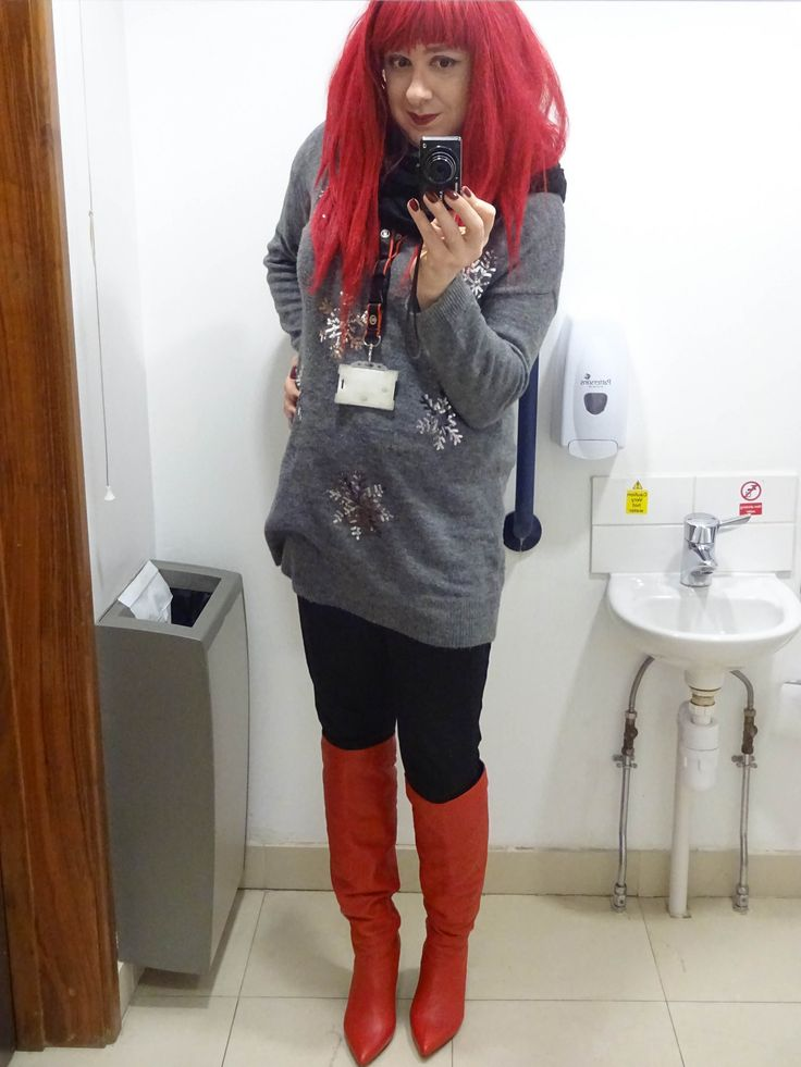 https://flic.kr/p/22JYBND | Festive | One way to catch up is to wear the same outfit as I'm posting. This was taken on a rather hellish day in work as snow was causing difficulties to our vehicles elsewhere - did we see any? Only on my jumper!  And Today is my last day in before Christmas, so of course I'll rewear this. It's as festive as I get ;)  Jumper - George Jeggings - Primark Boots - ASOS