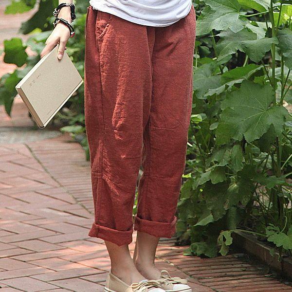 Брюки : Свободные летние брюки с накладными карманами