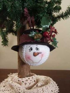 Such A Cute Christmas Ornament Idea.... Make A Snowman Out Of A Baseball Or Softball....  You Could Also Use A Golf Ball Too!....