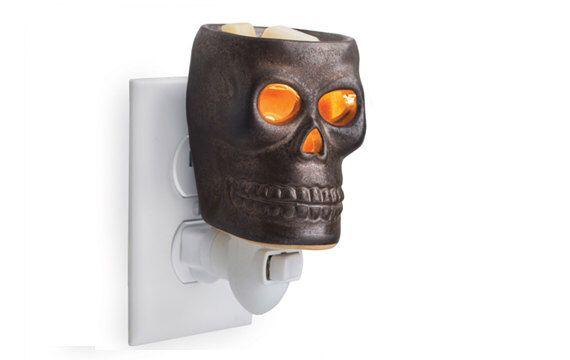 Halloween Home Decor - Wax Melter, Candle Warmer - Metallic Skull - Plug in Electric Wax Warmer - Wax Burner by OldSoulArtisan on Etsy https://www.etsy.com/listing/246663558/halloween-home-decor-wax-melter-candle