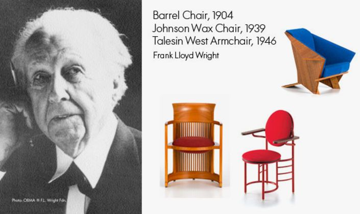 Frank Lloyd Wright was one of the architects of his time. His building 'Falling Water' is considered as one of  the best pieces of architecture of all time. Besides this, he has also created a number of chairs.