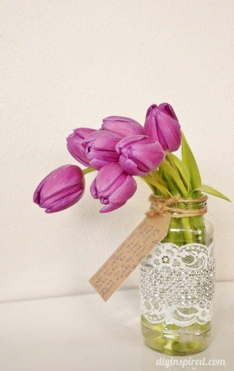 Mason Jar With Tulips Gift Idea
