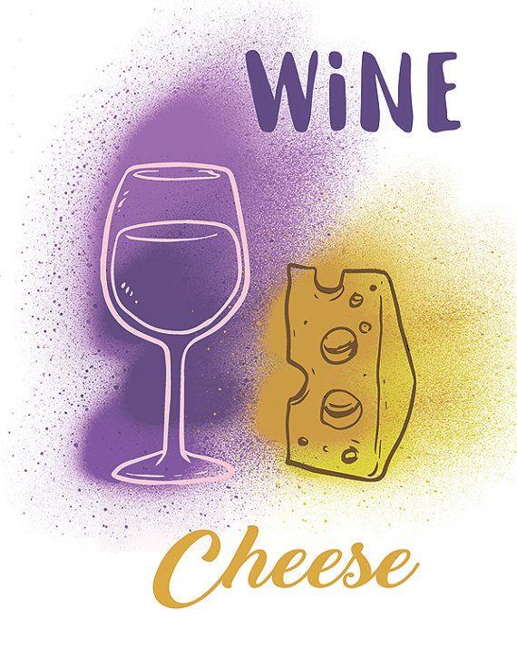 Wine and cheese art. Kitchen print. Food printable Kitchen wall art. Wine glass purple yellow printable Kitchen decor. Wine and cheese decor. Kitchen wall decor. Wine and cheese gift. Wine lover gift. Kitchen art