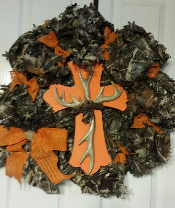 Camouflage Wreath with 18 orange and by WreathsandCraftsbyDW, $90.00