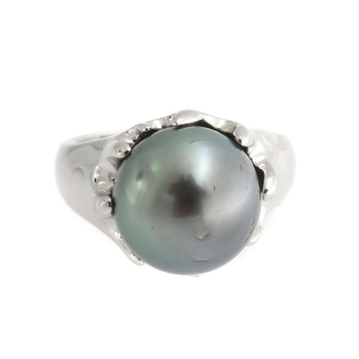 Designs by Turia 11-12mm Cultured Tahitian Pearl Sterling Silver Ring Size 7 #DesignsbyTuria #Solitaire
