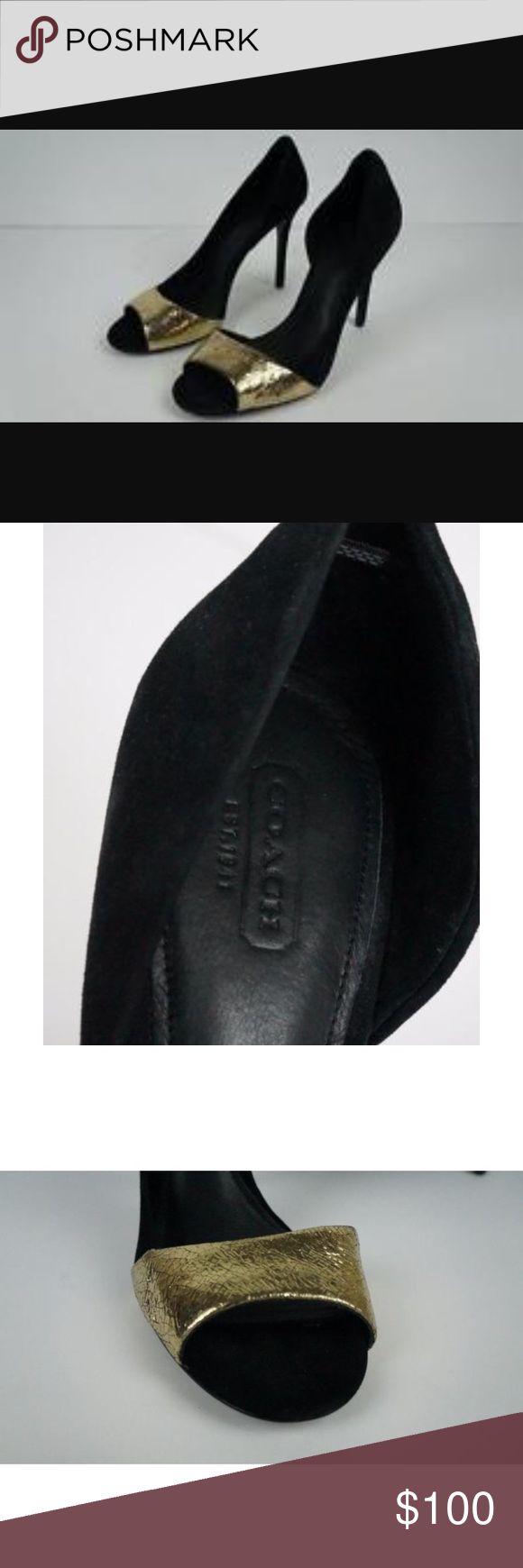 Coach lytton open toe heels Used ( worn twice) authentic coach Lytton cracked gold open toe heels MSRP 225$ Coach Shoes Heels