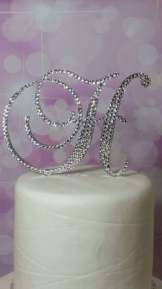 Wedding Cake Toppers Letter H : Ready To Go !! Monogram Initial Wedding Cake Topper ...