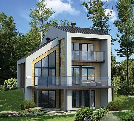 2 beds up. Open floor plan on main. Decks and balconies give you outdoor space on every level. Modern House Plan 80777PM #readywhenyouare