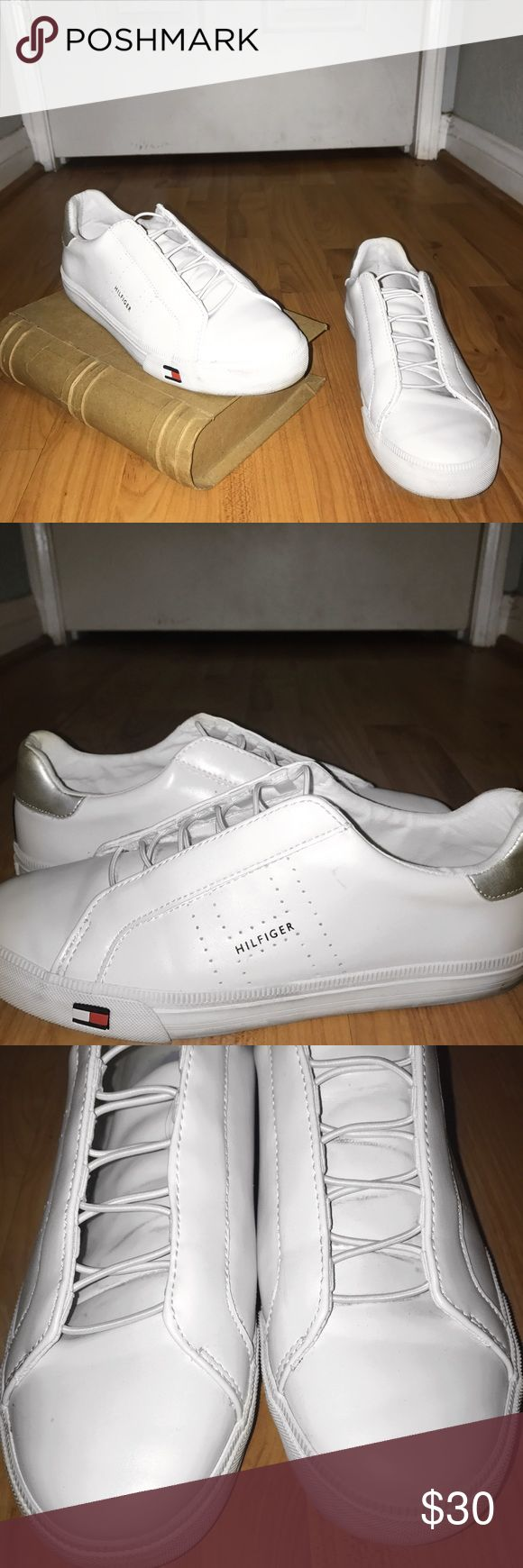 """tommy hilfiger sneakers white Description: authentic white tommy hilfiger sneakers. tiny flag on side. """"tommy hilfiger"""" written on the side and inside.   🖤make an offer, price negotiable🖤 🇺🇸comes with free Brandy Melville sticker 👅bundle to get a free bead bracelet ✨15% off bundle of two or more Tommy Hilfiger Shoes Sneakers"""