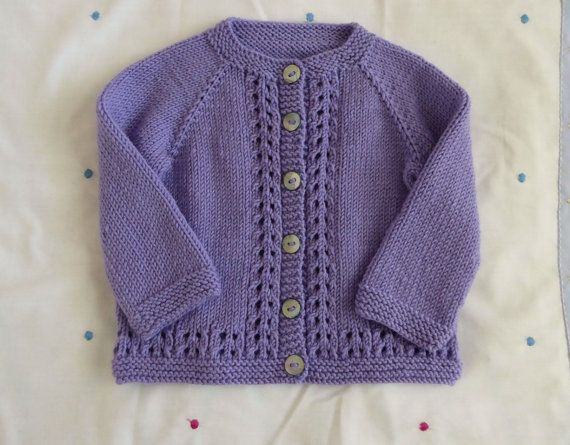 Wool baby girl cardigan, purple hand knitted girls sweater, 3 to 6 months handknit