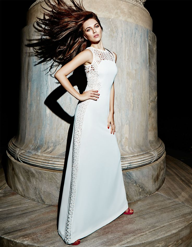 elegant evening long dress, with lace details chic style