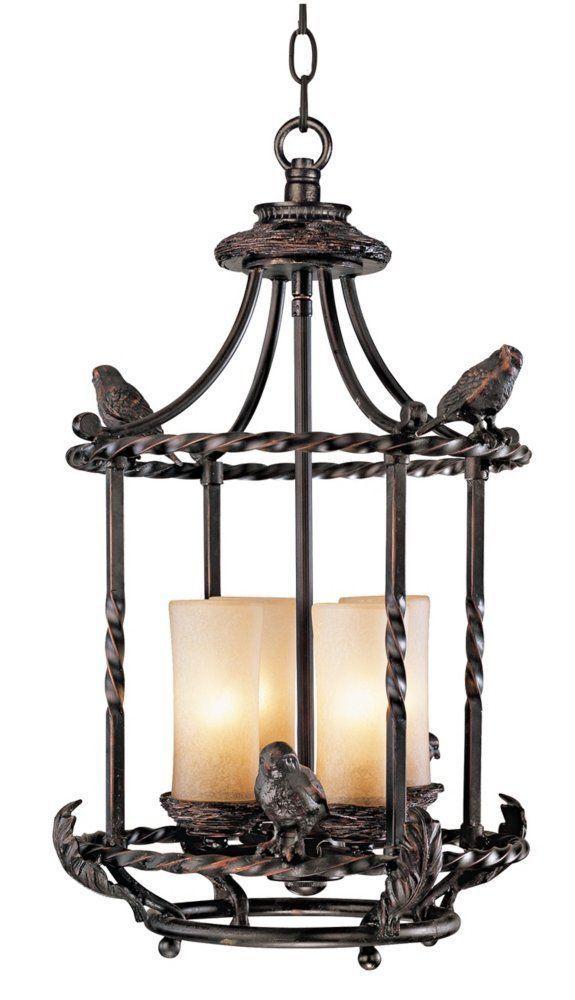 """Song Birds 13"""" Wide Pendant Indoor-Outdoor Chandelier #FranklinIronWorks"""