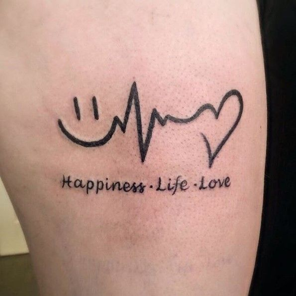 lifeline tattoo with happiness life love words