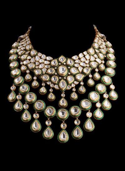 Polki diamonds and enamel set in 22K gold necklace, Diamantina