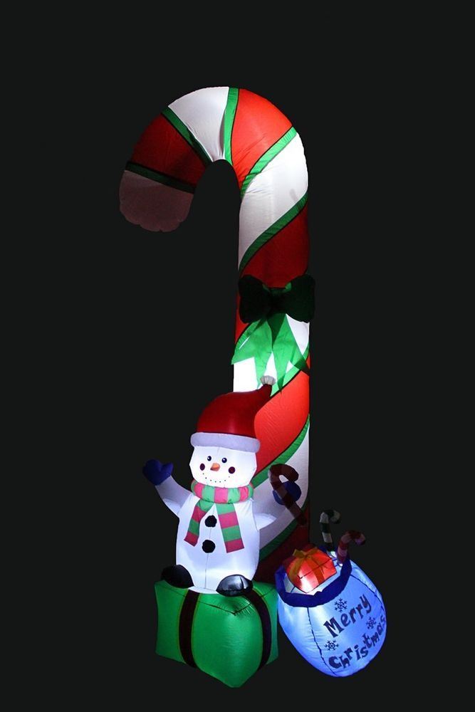Christmas Snowman Gift Box Airblown Inflatable 9 Ft Yard Lighted Xmas Decor #easy_shopping08